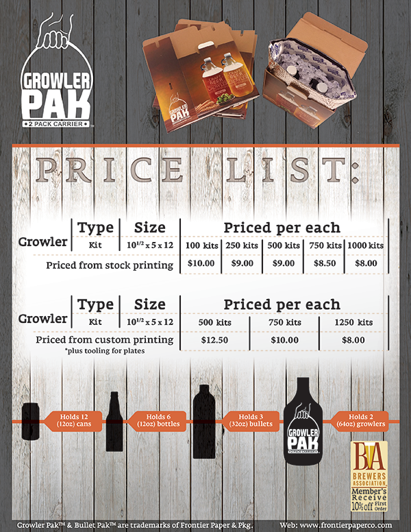 Growler Pak Pricing